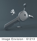 #61213 Royalty-Free (Rf) Illustration Of 3d Key Character Doing A Hand Stand