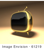 #61219 Royalty-Free (Rf) Illustration Of A 3d Gold Retro Tv - Version 3