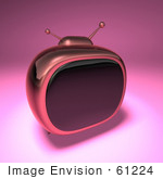 #61224 Royalty-Free (Rf) Illustration Of A 3d Pink Retro Tv - Version 3