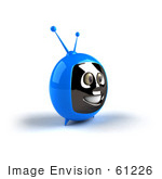 #61226 Royalty-Free (Rf) Illustration Of A 3d Blue Smiling Television Mascot - Version 3