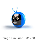 #61228 Royalty-Free (Rf) Illustration Of A 3d Blue Smiling Television Mascot - Version 2
