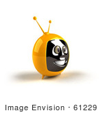 #61229 Royalty-Free (Rf) Illustration Of A 3d Yellow Smiling Television Mascot - Version 3