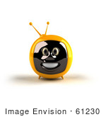 #61230 Royalty-Free (Rf) Illustration Of A 3d Yellow Smiling Television Mascot - Version 1