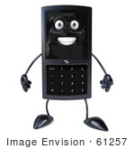#61257 Royalty-Free (Rf) Illustration Of A Slim 3d Cellular Phone Character Facing Front