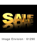 #61290 Royalty-Free (Rf) Illustration Of A 3d Golden Sale Text Reflecting On Blac