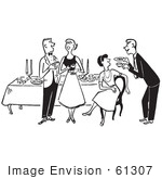 #61307 Cartoon Of A Man Serving A Lady At A Party Table While A Couple Talks, In Black And White - Royalty Free Vector Clipart by JVPD