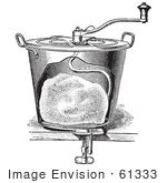 #61333 Retro Clipart Of A Vintage Antique Bread Mixer In Black And White - Royalty Free Vector Illustration