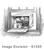#61335 Retro Clipart Of A Vintage Window Box Refrigerator In Black And White - Royalty Free Vector Illustration