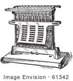 #61342 Retro Clipart Of A Vintage Antique Electric Toaster In Black And White - Royalty Free Vector Illustration
