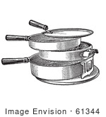 #61344 Retro Clipart Of A Vintage Antique Hot Plate Or Grill In Black And White - Royalty Free Vector Illustration