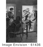 #61436 Retro Clipart Of A Mother Grandparents And Father With Children At A Door In Black And White - Royalty Free Illustration
