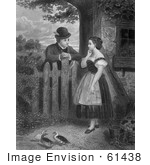 #61438 Retro Clipart Of A Young Couple Flirting At A Fence With Ducks In The Yard In Black And White - Royalty Free Illustration