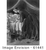 #61441 Retro Clipart Of A Nurturing Mother Tucking Her Child In To Bed In Black And White - Royalty Free Illustration