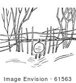 #61563 Clipart Of A Snowshoe Rabbit Snare Trap In Black And White - Royalty Free Vector Illustration