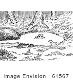 #61567 Clipart Of A Fox Water Trap Set In Black And White - Royalty Free Vector Illustration