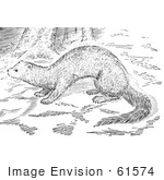 #61574 Clipart Of A Fisher In The Woods In Black And White - Royalty Free Vector Illustration