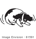 #61591 Clipart Of A Cowering Puppy In Black And White - Royalty Free Vector Illustration