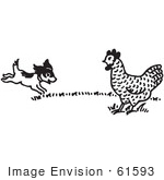 #61593 Clipart Of A Happy Puppy And Chicken Black And White - Royalty Free Vector Illustration