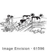 #61596 Clipart Of Boys Tending To Cattle Chickens And Pigs On A Farm In Black And White - Royalty Free Vector Illustration