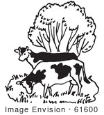 #61600 Clipart Of Cows Grazing By A Tree In Black And White - Royalty Free Vector Illustration