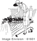 #61601 Clipart Of A Retro Woman Watering A Garden In Black And White - Royalty Free Vector Illustration