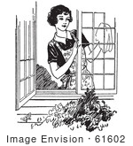 #61602 Clipart Of A Retro Woman Washing Windows In Black And White - Royalty Free Vector Illustration