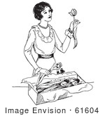 #61604 Clipart Of A Retro Woman Opening A Box Of Tulips In Black And White - Royalty Free Vector Illustration