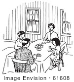 #61608 Clipart Of A Happy Retro Family Eating In Black And White - Royalty Free Vector Illustration