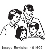 #61609 Clipart Of A Happy Retro Family In Black And White - Royalty Free Vector Illustration