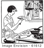 #61612 Clipart Of A Retro Woman Making Apple Pie In Black And White - Royalty Free Vector Illustration