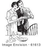 #61613 Clipart Of A Retro Cherub Chef And Wife Serving Her Husband Fresh Cookies In Black And White - Royalty Free Vector Illustration