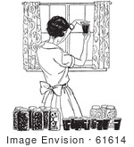 #61614 Clipart Of A Retro Housewife Canning Foods In Black And White - Royalty Free Vector Illustration