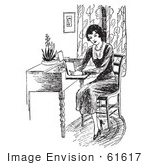 #61617 Clipart Of A Retro Woman Reading A Book At A Desk In Black And White - Royalty Free Vector Illustration