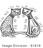 #61618 Clipart Of A Happy Cat Couple In Black And White - Royalty Free Vector Illustration