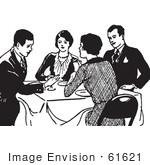 #61621 Clipart Of Retro Couples Talking At A Dinner Table In Black And White - Royalty Free Vector Illustration