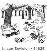 #61629 Clipart Of A Dog Chasing Weasels And Chipmunks And Children Watching Black And White - Royalty Free Vector Illustration