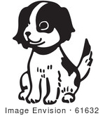 #61632 Clipart Of A Happy Sitting Puppy In Black And White - Royalty Free Vector Illustration