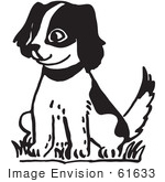 #61633 Clipart Of A Happy Puppy Sitting In Black And White - Royalty Free Vector Illustration