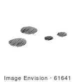#61641 Clipart Of Snowshoe Rabbit Tracks In Snow In Black And White - Royalty Free Vector Illustration