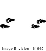 #61645 Clipart Of Raccoon Tracks In Black And White - Royalty Free Vector Illustration