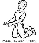#61827 Clipart Of A Retro Boy Kneeling In Black And White - Royalty Free Vector Illustration