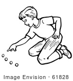 #61828 Clipart Of A Retro Boy Playing With Marbles In Black And White - Royalty Free Vector Illustration