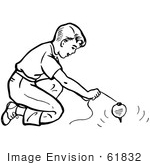 #61832 Clipart Of A Retro Boy Playing With A Top In Black And White - Royalty Free Vector Illustration