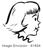 #61834 Clipart Of A Happy Retro Girl In Profile In Black And White - Royalty Free Vector Illustration