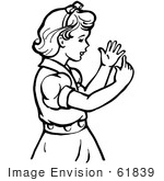 #61839 Clipart Of A Retro Girl Counting Her Fingers In Black And White - Royalty Free Vector Illustration