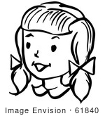 #61840 Clipart Of A Happy Retro Girl In Black And White - Royalty Free Vector Illustration