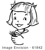 #61842 Clipart Of A Happy Retro Girl Holding Toothpicks In Black And White - Royalty Free Vector Illustration