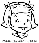 #61843 Clipart Of A Happy Retro Girl In Black And White - Royalty Free Vector Illustration