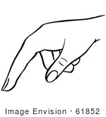 #61852 Clipart Of A Pointing Hand In Black And White - Royalty Free Vector Illustration