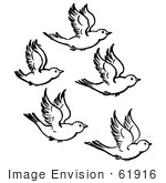 #61916 Clipart Of Five Flying Birds In Black And White - Royalty Free Vector Illustration